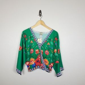 Flying Tomato Womens Blouse Size S Green Floral